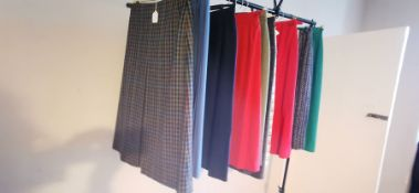 A collection of 10 wool skirts, plain, tweed etc. Size 10. All Daks samples. (10)