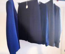 A grey/green herringbone tweed suit. Long line jacket and straight skirt (new) Daks sample (1980s.