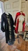 An Edwardian Dress, size 12/14, in taffeta with a decorated modesty front in black and beige, the