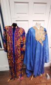 From the wardrobe of Opera singer Jessye Norman. vibrant blue and gold kaftan by Ruth Norman New