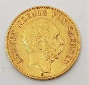 German States - Kingdom of Saxony: An 1894 Albert 20 mark gold coin.