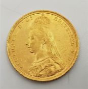 """An 1890 Victoria """"Jubilee bust"""" gold sovereign,London mint."""