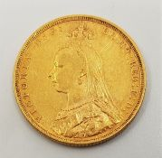 """An 1892 Victoria """"Jubilee bust"""" gold sovereign,Melbourne mint."""