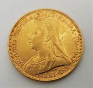 "An 1894 Victoria ""Veiled bust"" gold sovereign,London mint."