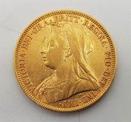 "An 1896 Victoria ""Veiled bust"" gold sovereign, London mint."