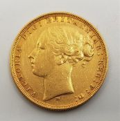 """An 1880 Victoria """"Young bust"""" gold sovereign,rev. St. George, Melbourne mint."""