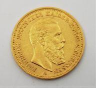 German States- Kingdom of Prussia: An 1888 Friedrich III 20 mark gold coin.