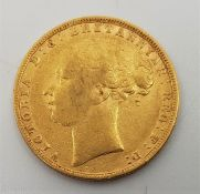 """An 1880 Victoria """"Young bust"""" gold sovereign, rev. St. George, London mint."""