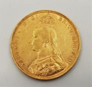 """An 1889 Victoria """"Jubilee bust"""" gold sovereign, London mint."""