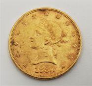 A USA 1880 Eagle ten dollars gold coin,Philadelphia mint.