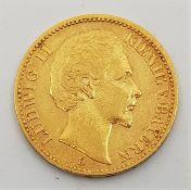 German States - Kingdom of Bavaria: An 1873 Ludwig II 20 mark gold coin.