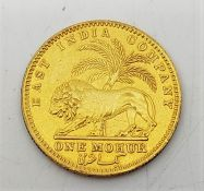 An East India Company 1841 Victoria One Mohur gold coin, obv. young bust, divided legend, crosslet