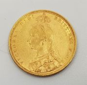 """An 1889 Victoria """"Jubilee bust"""" gold sovereign,London mint."""