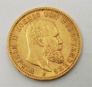 German States - Kingdom of Prussia: A 1900 Wilhelm II 20 mark gold coin.