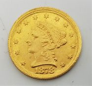A replica counterfeit US 1878 Quarter Eagle 2 1/2 dollars gold coin,with accent mark above number 8