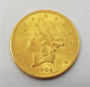 A USA 1904 Double Eagle twenty dollars gold coin, Philadelphia mint.