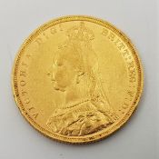 """An 1891 Victoria """"Jubilee bust"""" gold sovereign,London mint."""
