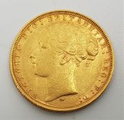 """An 1879 Victoria """"Young bust"""" gold sovereign,rev. St. George, Melbourne mint."""