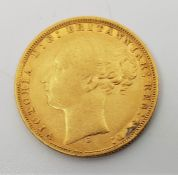 """An 1876 Victoria """"Young bust"""" gold sovereign,rev. St. George, Sydney mint."""