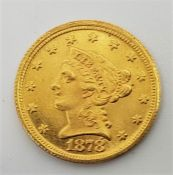 A replica/counterfeit US 1878 Quarter Eagle 2 1/2 dollars gold coin,with accent mark above number 8