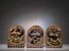 SET OF THREE WOOD SCULPTURES
