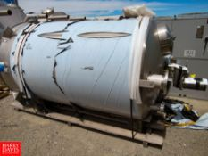 "1300 Gal S/S Agitated Tank With Top Manhole Opening, 6' dia. x 8'3"" h. Located In: Dry Storage -"