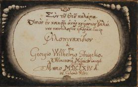 Strigel, Georg Wilh. u. N. N.Dt., latein. u. griech. Handschrift auf Papier.Coburg, Straáburg,
