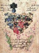 Wingeler, Johann.6 Bll. aus seinem Stammbuch. Dt. u. latein.Handschrift auf Papier. Lzg., Padua u.