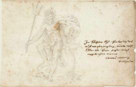 """Worlich, Conrad.Stammbuchblatt mit einer Bleistiftzeichnung. O.O. um 1680. 93:146 mm.In H""""chster Eyl"""