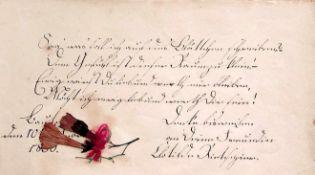 Wnsche, Louise.Souvenir. Dt. Handschrift auf Papier. Bautzen1834-1836. 90:156 mm. 24 Bll. mit 24