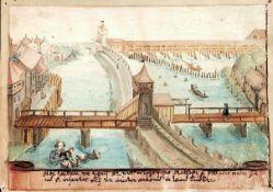 """Luzern.Aquarell, goldgeh""""ht, auf Pergament aus einem Stammbuch. Luzern ca. 1610. 90:130 mm.Die"""