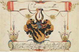 Greiner, Georg Ulrich.Ein Blatt aus seinem Stammbuch. Augsburg13.III.1628. 114:170 mm. Eintrag mit