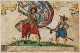 Hegelin, Hans Ulrich.12 Stammbuchbll. (Ca. 92:130 mmm.). Lauingen1623-1634. Montiert. Gr.-8ø. Mod.