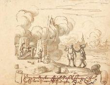 Kriegsszene.Pinselzeichnung in Grau u. Braun. O. O., 17.Jhdt. 112:145 mm.Schtzen an einer Kanone,