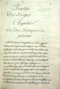 """Traitt' Des Si'ges.Franz""""s. Handschrift auf Papier. 2 Tle. in 1 Bd.O. O. um 1697. 199:135 mm. 191;"""