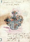 """Hunigk?Stammbuchbl. mit Wappenmalerei. 28.V.1588. 134:96mm.Rcks. eine feine Pinselzeichnung, m""""nnl."""