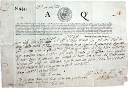 Venedig.3 typographische, handschriftlich ausgefllteSchriftstcke. 1623-1784. Qu.-4ø. Je 1