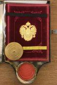 """Franz Joseph I., r""""m.-dt. Kaiser.Wappenbrief fr Joseph Pipitz. DeutscheHandschrift auf Pergament."""