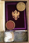 """Franz Joseph I., r""""m.-dt. Kaiser.Wappenbrief fr Gustav Brosch. DeutscheHandschrift auf Pergament."""