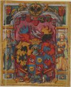 Wappenmalereien.2 Bll. auf Pergament in Gold u. Farben. O. O. um1580. 132:112 mm. und 117:98 mm.