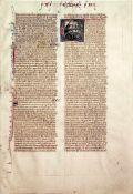 Biblia latina.Lateinische Handschriftauf Pergament. Frankreich um 1290. 201:140 mm. - Daraus 1 Bl.