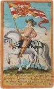 """Helfenstein, Rudolph v.Stammbuchblatt mit Aquarell, goldgeh""""ht. 1614?156:95 mm.Rudolf Graf von"""