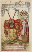 Anonymes Stammbuch.11 Stammbuchbll. (Ca. 142:90 mm.). O. O.1585-1587. Montiert. Gr.-8ø. Mod.