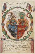 Kurtz von Senfftenau, Maximilian.21 Stammbuchbll. mit Wappenmalereien in Gold,Sielber u. Farben.