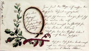 Kassette.Rot Ldr. um 1850 mit Rfil., breiter goldgepr.Deckelfil., floraler Bord. u. goldgepr.