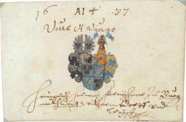 """Bayern.8 Bll. mit 10 Wappenmalereien in Gold u. Farbenu. Eintr""""gen. 1601-1653. 75:87 bis 175:145"""