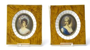 18th century French school Two portraits of a lady, Miniatures on ivory. Framed. Tag on the back