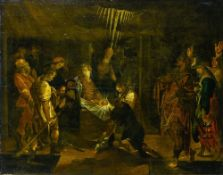 17th century Italian school The shepherds' worship, Oil on panel. Framed Height (cm) : 52 - Width (