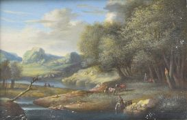 18th century Flemish school Animated landscapes, Pair of gouache paintings on papier marouflaged on