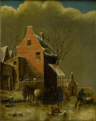 17th century Dutch school. Klaes MOLENAER (ca. 1630-1676), His circle. Animated winter landscape,